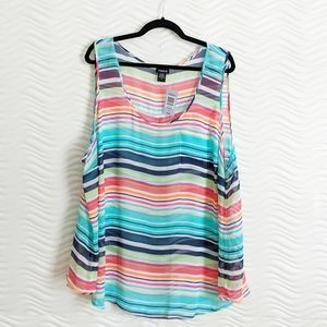 Torrid Sheer Chiffon Striped Tank Sz 4